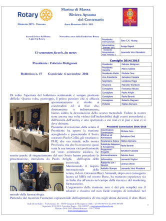 6 Novembre 2014 - Rotary Club Marina di Massa Riviera Apuana