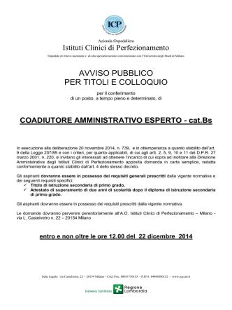 COADIUTORE AMMINISTRATIVO ESPERTO 2014-12-05