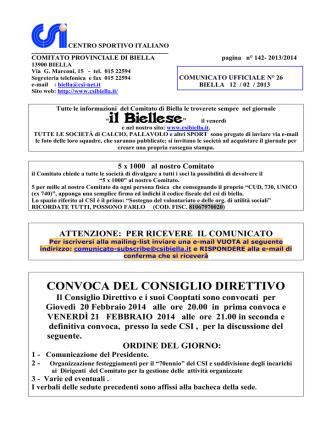 CONVOCA DEL CONSIGLIO DIRETTIVO
