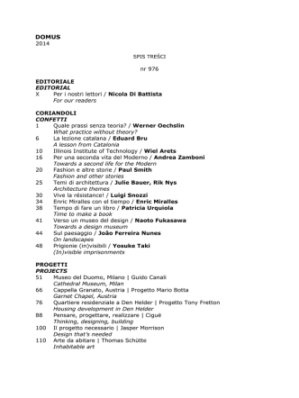 2014 nr 976 EDITORIALE EDITORIAL X Per i nostri lettori / Nicola Di