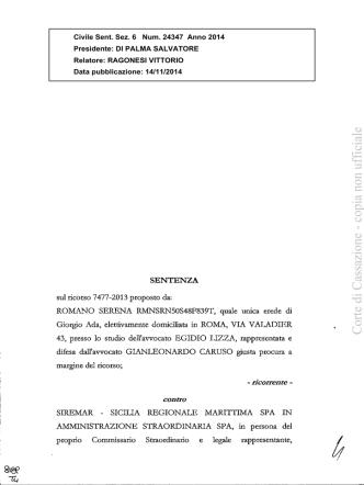 Cass., sez. VI, 14 novembre 2014, n. 24347