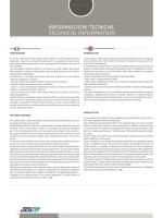 INFORMAZIONI TECNICHE TECHNICAL INFORMATION
