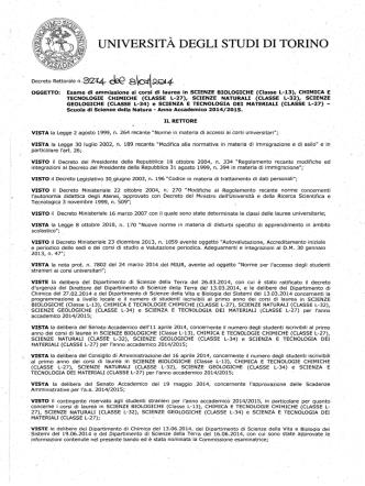 Decreto Rettorale - Corso di Laurea Triennale in Chimica e