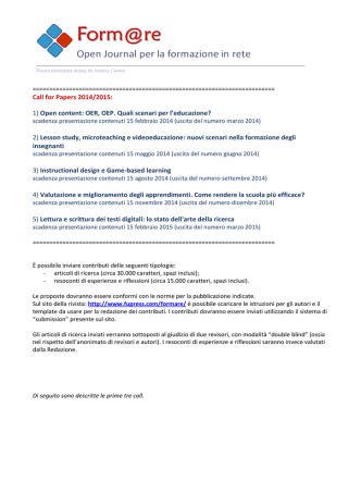 Call for Papers 2014/2015: 1) Open content: OER, OEP. Quali