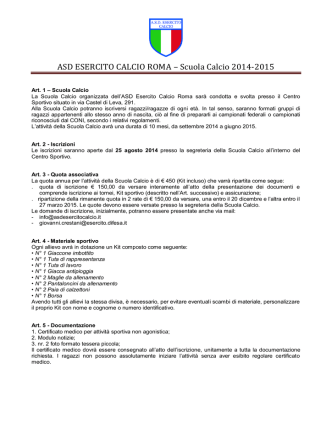 Bozza Regolamento - ASD Esercito Calcio