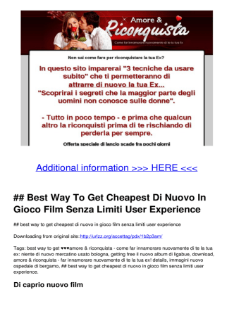 ## Best Way To Get Cheapest Di Nuovo In Gioco Film Senza Limiti