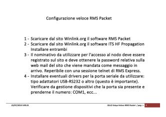 Configurazione veloce RMS Packet 1 - Scaricare dal sito Winlink.org