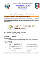 Comunicato Ufficiale n. 28 del 16 Settembre 2014