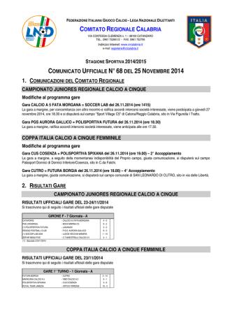 Comunicato Ufficiale n. 68 del 25 Novembre 2014