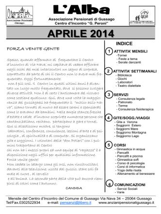 Aprile 2014 - Associazione Pensionati Gussago