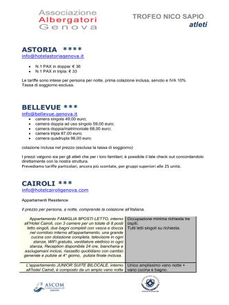 41° Trofeo Nico Sapio - News 2014-2015 Logistica