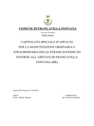 COMUNE DI FRANCAVILLA FONTANA CAPITOLATO SPECIALE D