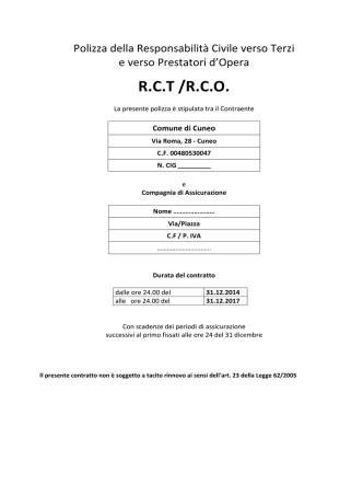 Capitolato Polizza RCT-O - Comune di Cuneo 3-10