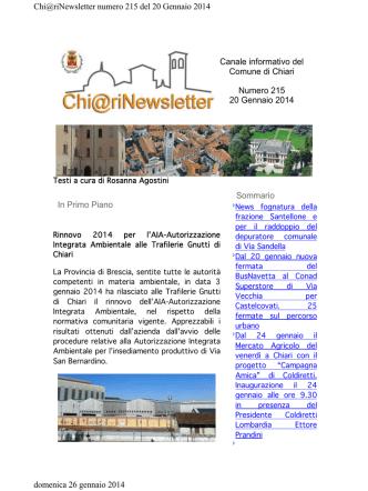 Canale informativo del Comune di Chiari Numero 215 20 Gennaio