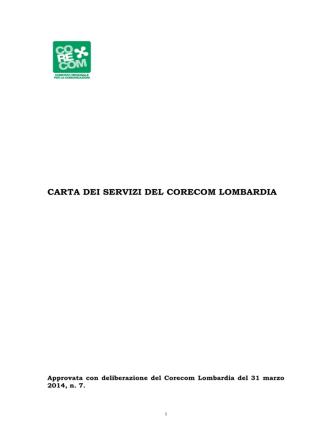 carta dei servizi del corecom lombardia - Il Consiglio