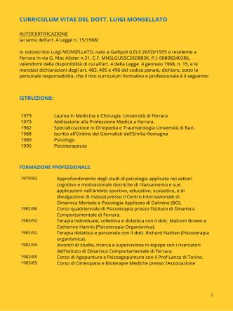 CURRICULUM VITAE DEL DOTT - Dottor Luigi Monsellato