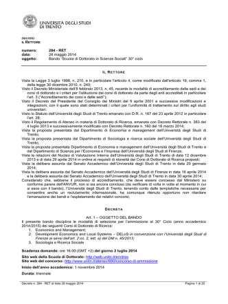 decreto numero: 284 - RET data: 28 maggio 2014 oggetto: Bando