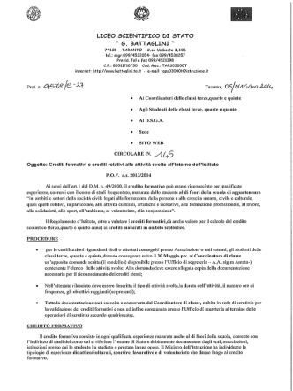 Crediti Formativi - Liceo Scientifico Statale Battaglini