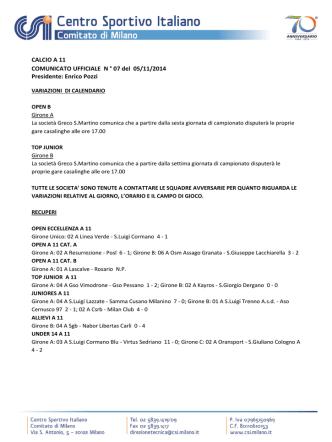 Comunicato n. 7 commissione calcio a 11