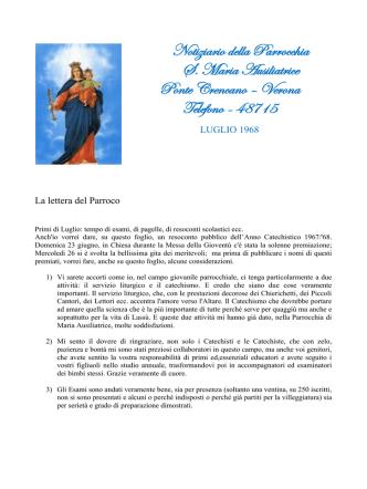 Bollettino di Luglio (1968) - Parrocchia Santa Maria Ausiliatrice