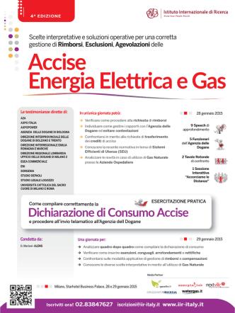 Accise Energia Elettrica e Gas - Istituto Internazionale di Ricerca
