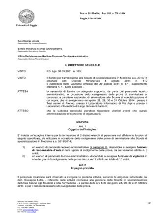 Bando - Università degli Studi di Foggia
