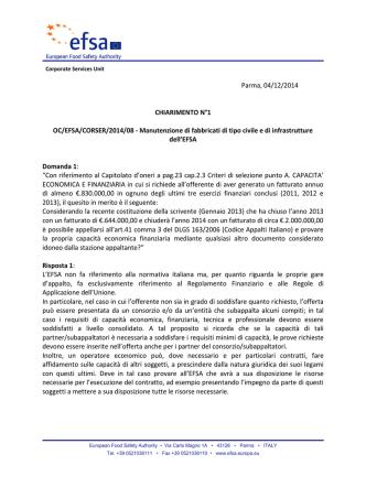 Clarification N°1 - EFSA