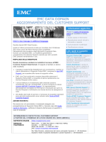 EMC DATA DOMAIN AGGIORNAMENTO DEL CUSTOMER SUPPORT