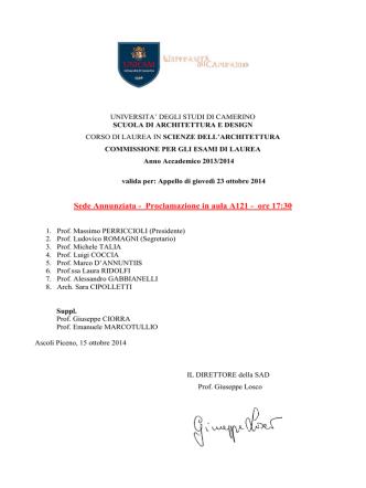 comm. SDA III proclamazione