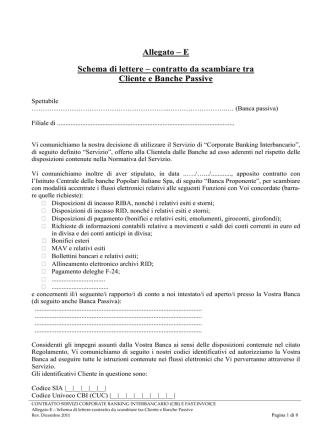 Allegato E – Schema lettera-contratto Banca Passiva