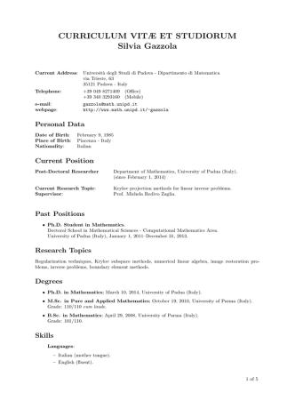 Curriculum Vitae - Dipartimento di Matematica