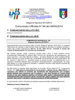 Comunicato Ufficiale N° 66 del 08/05/2014