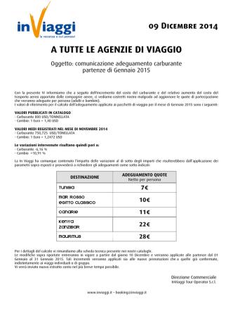 05 Novembre 2014 A TUTTE LE AGENZIE DI VIAGGIO