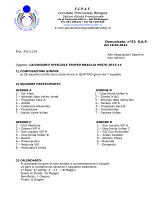 comunicato n.52 SAP - FIPAV - Comitato Provinciale di Bologna