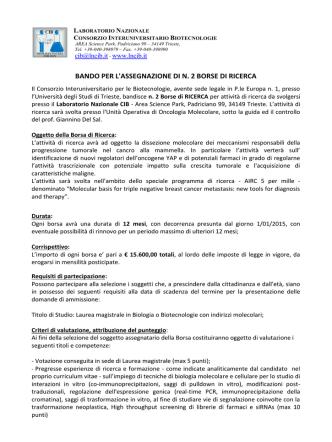 Bando - Consorzio Interuniversitario per le Biotecnologie