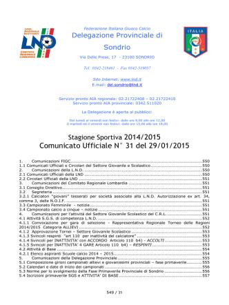 Comunicato Ufficiale N° 31 del 29/01/2015