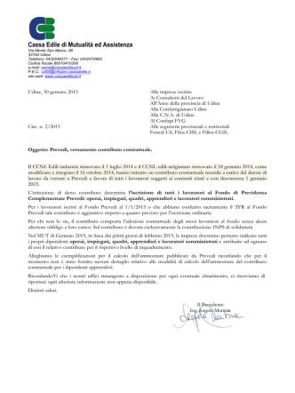 Circolare 2015.2 - Cassa Edile di Mutualità ed Assistenza Udine