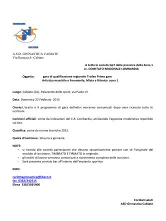 A.S.D. GINNASTICA CABIATE Via Baracca,4