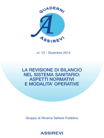 Assirevi, Quaderno n. 13 - Dicembre 2014