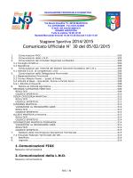 Comunicato Ufficiale N° 30 del 05/02/2015