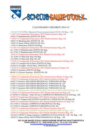 CALENDARIO CHILDREN 2014-15