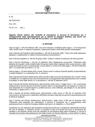 Bando - Università di Udine