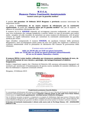 035-3535 Numero Unico Continuità Assistenziale (ex Guardia medica)