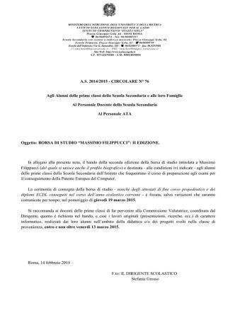 A.S. 2014/2015 - CIRCOLARE N° 76 Agli Alunni delle prime classi