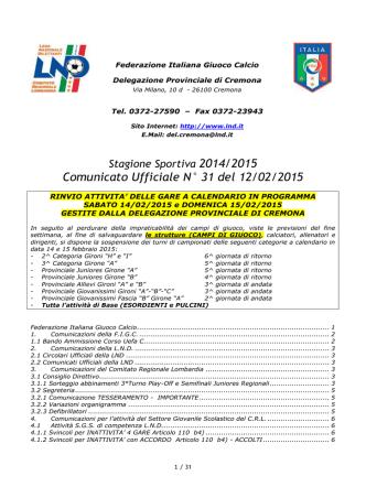 Comunicato Ufficiale N° 31 del 12/02/2015