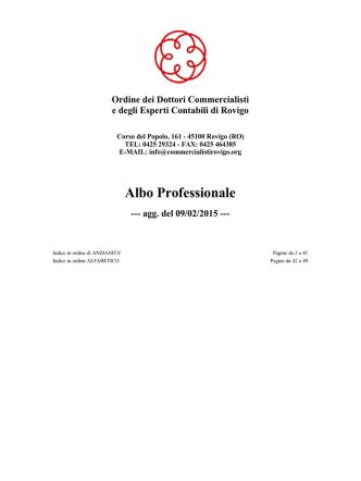 Albo  - Ordine dei Dottori Commercialisti di Rovigo