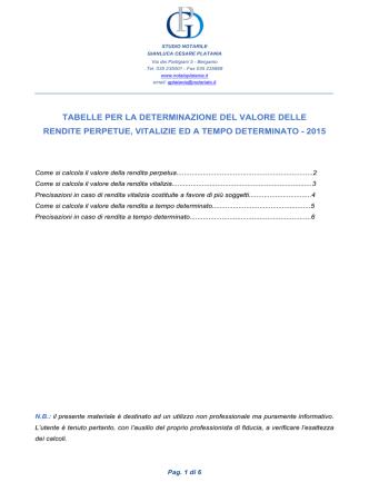 Calcolo rendita 2015 - notaio Platania - Bergamo