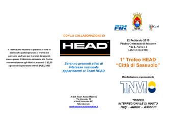 """1° Trofeo HEAD """"Città di Sassuolo"""""""