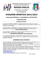 REGGIO EMILIA STAGIONE SPORTIVA 2014/2015 - FIGC