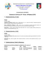 Comunicato Ufficiale n. 116 del 19 Febbraio 2015